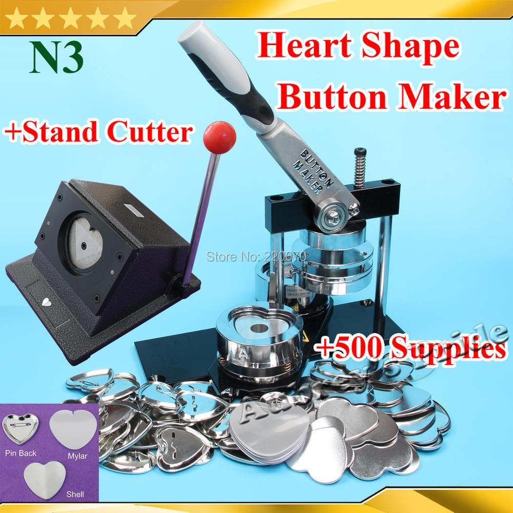무료 배송 n3 하트 모양 57x52mm 배지 버튼 메이커 기계 + 금형 + 스탠드 커터 + 500 세트 금속 핀백 용품-에서패키지부터 홈 & 가든 의  그룹 1