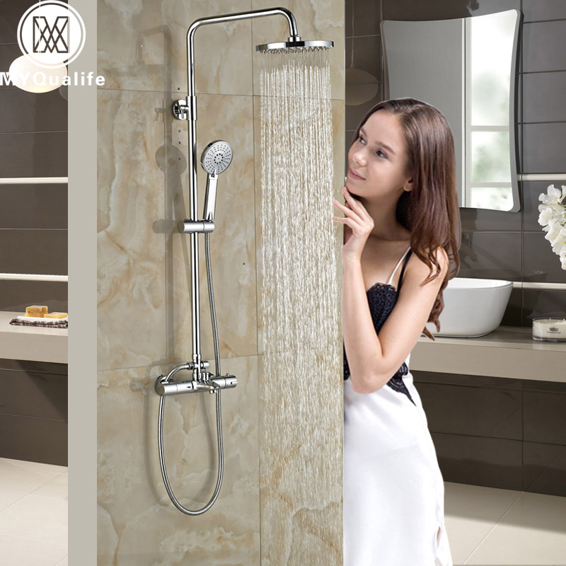 Good Quality Bath Shower Faucet Dual Handle Thermostatic Shower Set Rainfall Shower Head Shower Mixer Kit with Handshower chrome bathroom thermostatic mixer shower faucet set dual handles wall mount bath shower kit with 8 rainfall showerhead