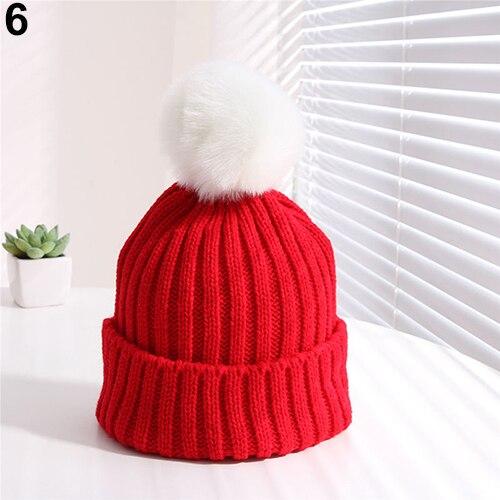 Дети Дети Boy Девушки Зима Теплая Вязать Шапочки Hat Берет Вязание Cap с Пушистый Комочек