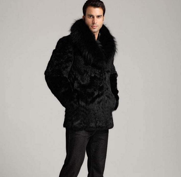Winter thicken thermal mink hair rabbit fur leather jacket men casual overcoat mens medi ...
