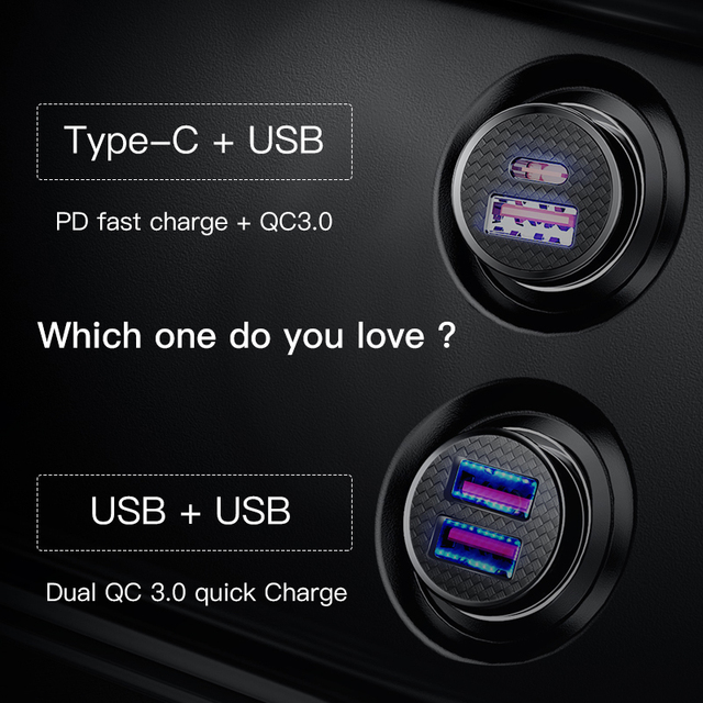 Car Charger 30W  QC 4.0 QC 3.0 For Xiaomi Huawei Supercharge SCP Samsung AFC PD Fast Charging For IP USB C Phone Charger 2