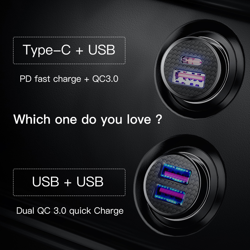 Image 2 - Baseus 30W Quick Charge 4.0 3.0 USB Car Charger For iPhone 11 Huawei Supercharge SCP QC4.0 QC3.0 Fast PD USB C Car Phone Charger-in Car Chargers from Cellphones & Telecommunications