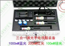 Wholesale Wholesale 50000mw blue laser 450nm+5000mw Red laser+5000mw green laser 3 in 1 focusable laser pointer,burn cigarette+Charger+box