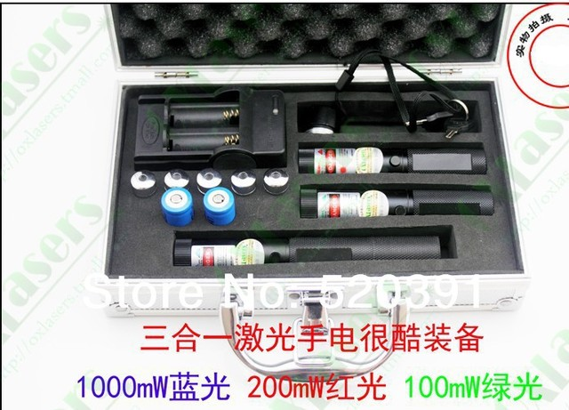 Wholesale 50000mw blue laser 450nm+5000mw Red laser+5000mw green laser 3 in 1 focusable laser pointer,burn cigarette+Charger+box