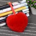 Bolsa de piel de conejo en forma de corazón Nuevo Diseño Encanto Real de Piel De Zorro Pom Accesorios Cadena de la Bola de Gran Tamaño Bolsa De Accesorios