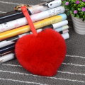 Rabbit fur heart shape  New Design Charm Bag Real Fox Fur Pom Accessories Chain  Big Size Ball Bag Accessories Keychain
