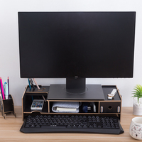 Wooden Monitor Stand Riser Computer Desk Organizer with Keyboard Mouse Storage Slots for Office Supplies