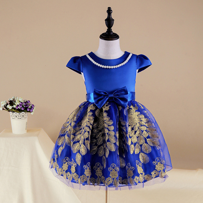 2017 Embroidered Flower Girl Dress Kids Pageant Party Wedding Bridesmaid Ball Gown Prom Princess Formal Occasion Dress 3-6Y flower girl princess dress 2017 new fashion kid party pageant wedding bridesmaid ball bow white dress 2 4 6 8 years xdd 3271