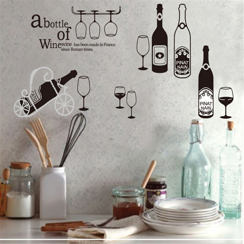 Creative Summer Drinks Wine Wall Stickers For Kids Rooms Home Decor Sofa Dining Table Decal