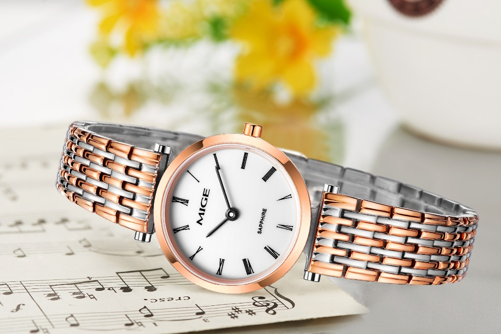 Mige 2017 Real New Hot Sale Lover Ladies Watch White Dial Rose Gold Case Female Clock Ultrathin Waterproof Quartz Women Watches