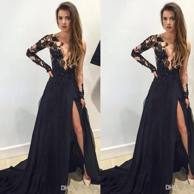 b9c81a18a7a8 Vestidos de Festa Black Evening Gowns Deep V Neck Long Transparent Sleeve  Lace Appliques Side Slit