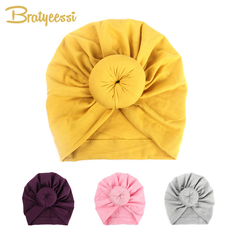 Fashion Donut Baby Hat Newborn Elastic Cotton Baby Beanie Cap Multicolor Infant Turban Hats 1 PC women new elastic cap turban muslim ruffle cancer chemo hat beanie scarf turban head wrap cap ladies india take photo headscarf