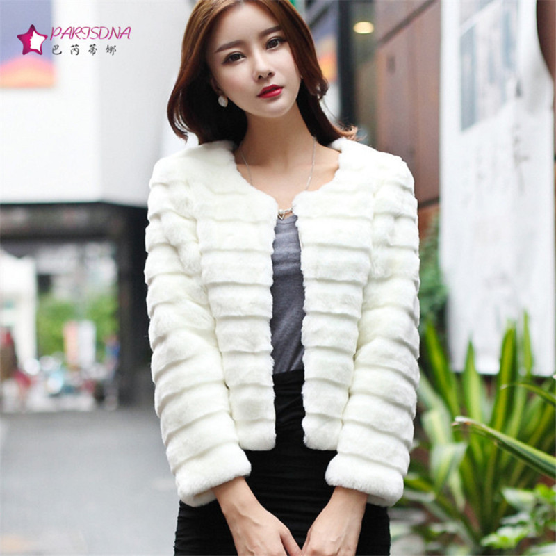 2015 Autumn Winter New Women Faux Fur Coat White Female Korean ...