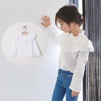 Ruffles Teenage Baby Kids Girls Blouse Shirt Long Sleeve Tops Cotton White Spring Autumn School Blouse