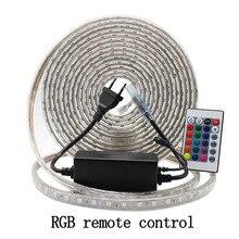 RGB светодиодная лента комплект полосы света с пульта дистанционного управления затемнения светодиодный ленты Водонепроницаемый AC220V SMD 5050 Светодиодный лента Гибкая полоски для дома диодная лента