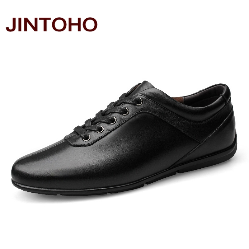 JINTOHO Genuine Leather Men Shoes Fashion Men Leather Shoes Glitter Leather Men Flats Men Leather Moccasins Male Shoes