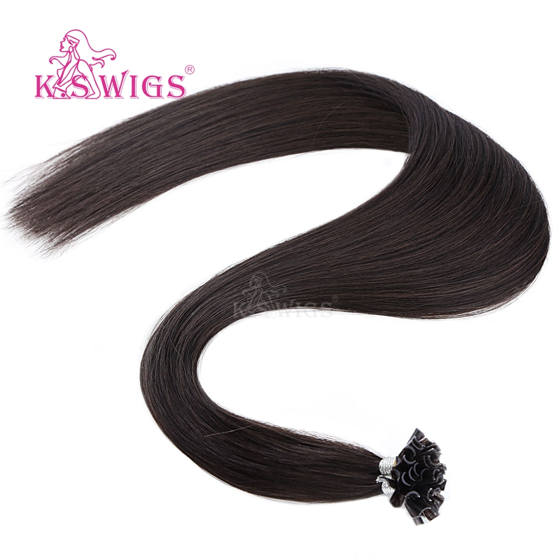Image 3 - K.S WIGS 16 20 24 28 Straight Pre Bonded Fusion Hair Remy Keratin Capsules Nail U Tip Human Hair Extensions 25s/packNail/U Tip   -