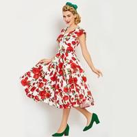 2017 Women Vintage Dress V Neck Print Sleeveles Pin Up Summer Red Floral Party Dresses Elegant