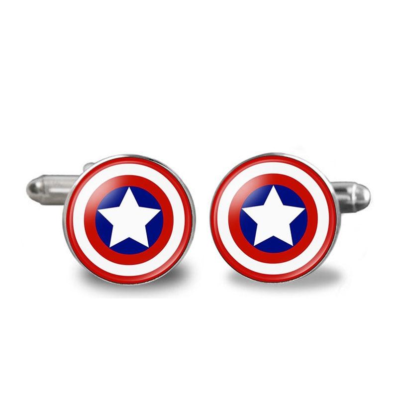 1 Pair Super Hero Captain America Spider Man Iron Man Bat Man Glass Cabochon Cufflinks for Mens Shirt Copper Cuff-Button super hero mashers spider man