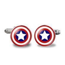 1 Pair Super Hero Captain America Spider Man Iron Man Bat Man Glass Cabochon Cufflinks for Mens Shirt Copper Cuff-Button
