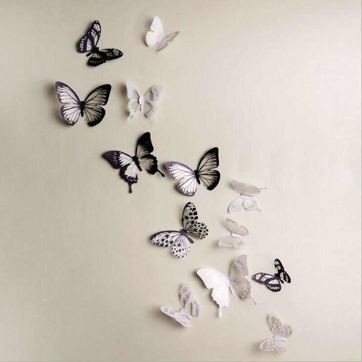 18Pcs 3D Butterfly Wall Stickers PVC Children Room Decal Home Decoration Decor
