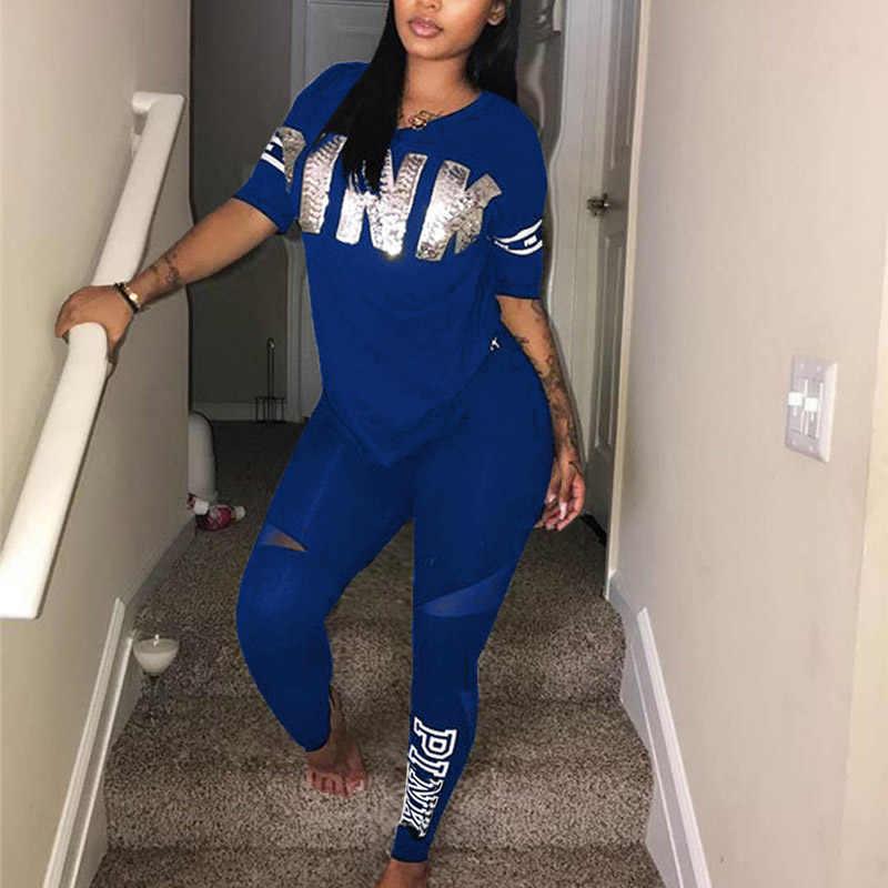 Kadın Spor Eşofman 2019 V Boyun Kısa Kollu T-shirt + dar pantolon Casual Mektubu Baskı Pembe 2 Parça Kıyafetler iki Parçalı Set
