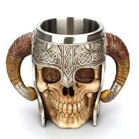 Skull Mug Viking Ram Horn Pit Lord Warrior Beer Stein Tankard Coffee Mug Halloween Decoration Skeleton Bar Drinkware Cup