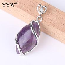 YYW Classic Horse Eye Shaped Pendant Natural Stones Pendulum Silver-color Fashion Jewelry Gift Pendants for Necklaces Women Men