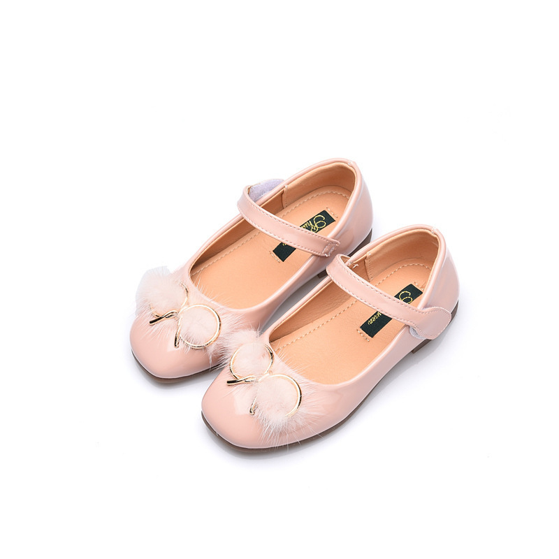 fashion spring autumn kids casual low heeled cute girl leather shoes princess bow metal hook loop sewing dance shoes solid color