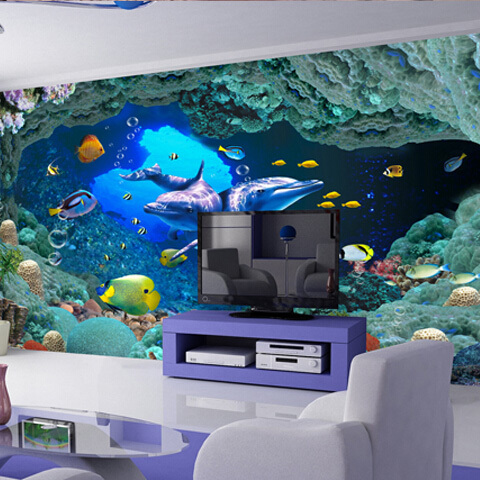 dream sea world decorative 3d wall panels kids room new washable non-woven for 2014 hot sales designs