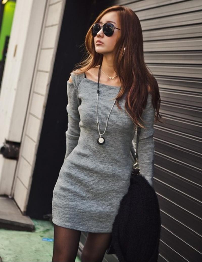 Hot Sell Women Cut Out Shoulder Long Sleeve Mini Day Night ...
