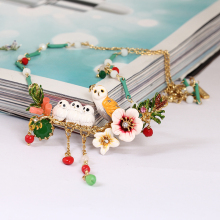 Juicy Grape France Romantic Enamel Snowy Owl Baby Crystal Tassels Necklace Copper Alloy Gilded Necklace Women Jewelry