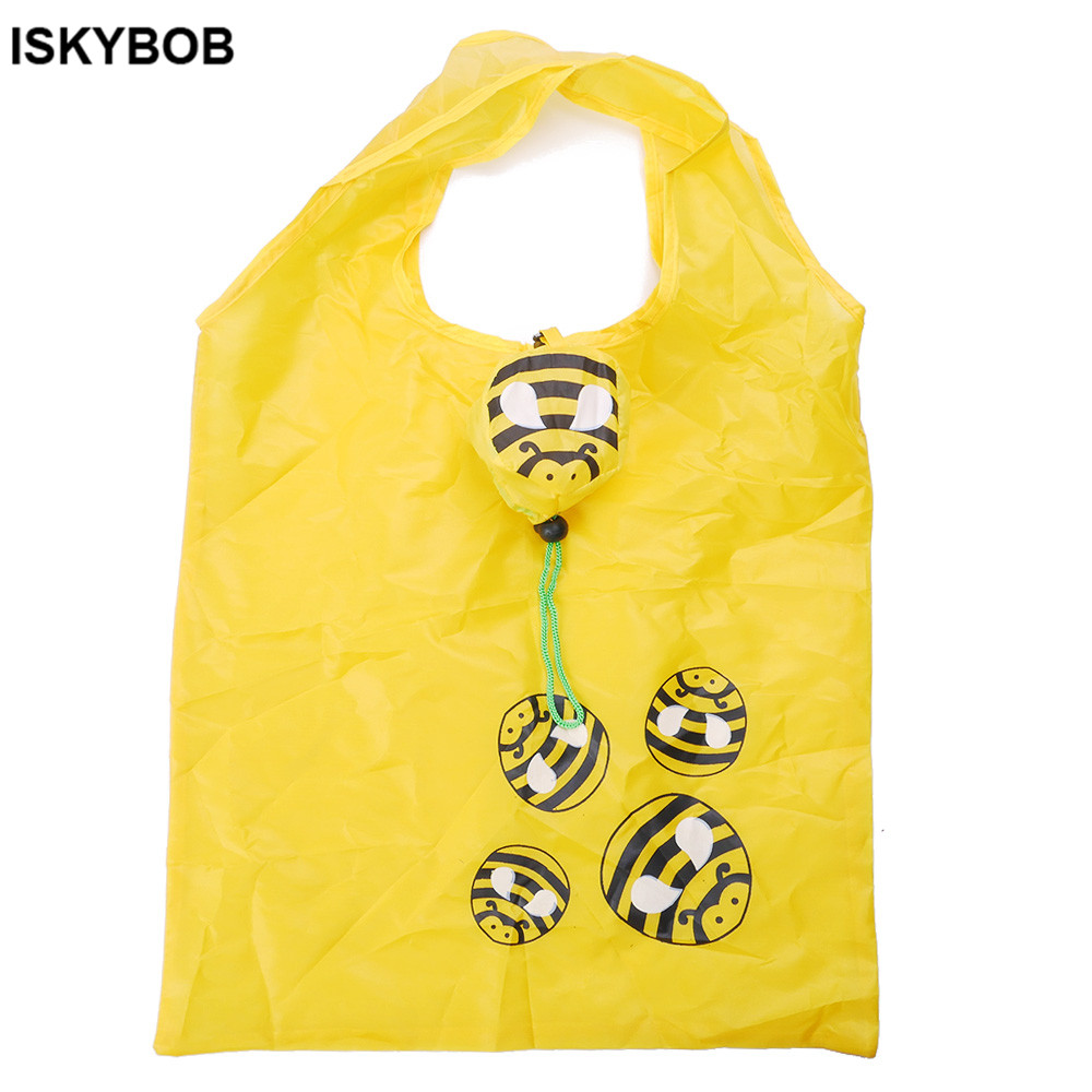 Bee shopping bag Eco-friendly folding reusable Portable Shoulder handle Bag Polyester for Travel Grocery