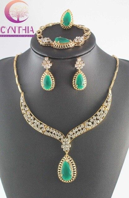 Продвижение Элегантный Красный/Зеленый Циркон Ожерелье Позолоченный Полный Кристалл Африканских Женщин Костюм, Модные Ювелирные Наборы