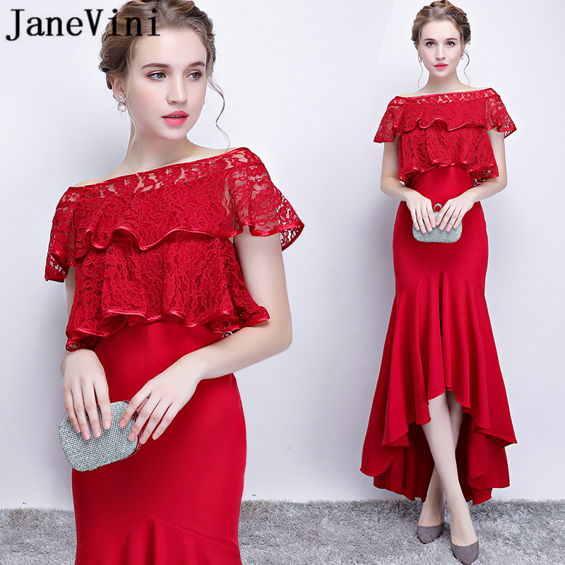 JaneVini Sexy Red Mermaid Bridesmaid Dresses Long Lace