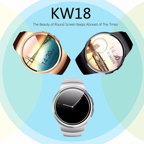 Prix pour Nouveau kingwear kw18 bluetooth smart watch téléphone plein écran soutien sim tf carte smartwatch coeur taux pour apple ios huawei Android