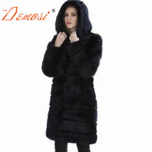2018 Real Fur Coat Female Classic Natural Rabbit Fur Outerwear Women Slim Long Coat Plus Size Overcoat With Fur Hooded(China)
