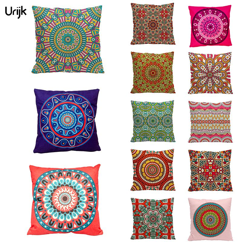 Urijk 1PC Fashion Christmas Decorations for Home Pillow Ethnic India Style Printed Cushion Cover for Sofa Square Throw Pillows