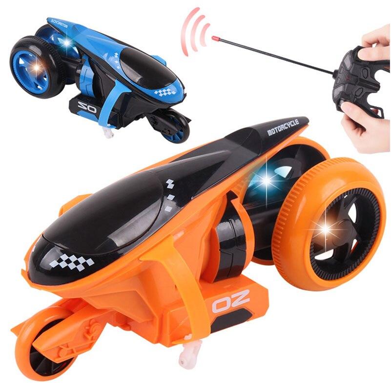 Забавные RC Мотоцикл дрейф трюк колеса электродвигателя с легкой RC Мотоцикл модель Electricl мотор игрушки для детей Подарки