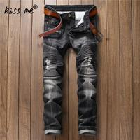 2017 High Quality Motorcycle Jeans Slim Denim Jeans Pants Motorcycle Pants Plus Size Classic Casual Jeans