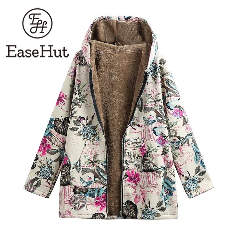 EaseHut Oversize Hooded Coats 2019 Spring Thin Jacket Women Outwear Parka Outwear Floral Print Pockets Vintage Cotton Coats