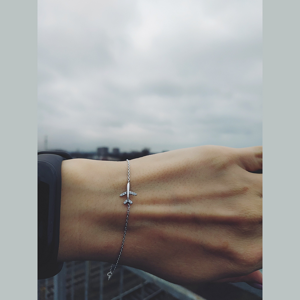 Real 925 Sterling Silver Plane Bracelet for Travel(China)
