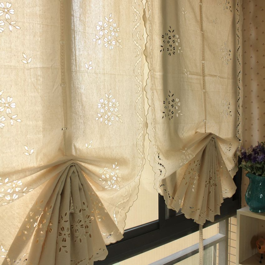 American Style Beige Sculpture Waterfall Balloon Curtain Pull Up Kitchen In Curtains From Home Garden On Aliexpress