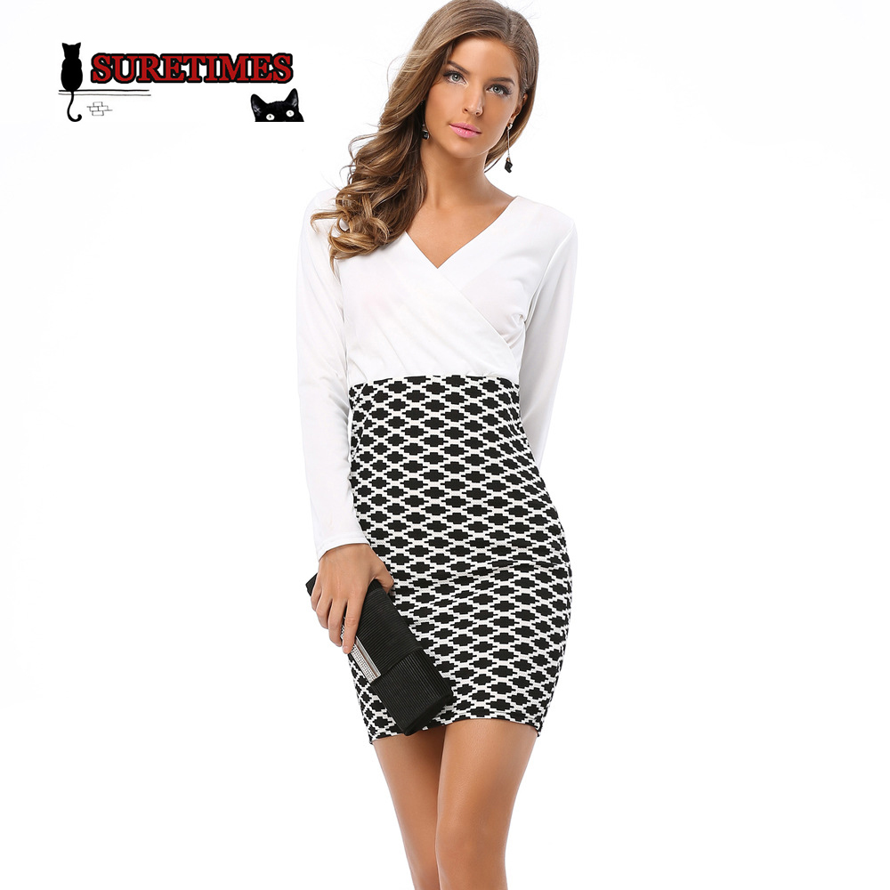 Sexy V Neck Long Sleeve Black And White Dress Pencil Women -8311