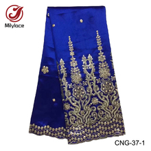 High quality dubai embroidery wedding /party dress george lace fabric with sequins 5 yards black CNG-37