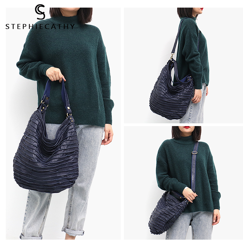 Image 3 - SC Real Sheep Skin Leather Stripe Hobo Bag for Women Large Capacity Genuine Leather Patchwork Shoulder Tote Casual Crossbody Bag-in Shoulder Bags from Luggage & Bags