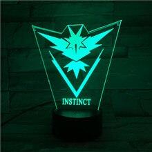 Pokemon Go Team Instinct Baby Nightlight LED Color Changing Bedside Atmosphere Novelty Lamps Gift Usb Led Lamp Child