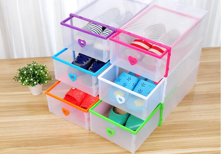 6pcs/lot Heart shaped Multicolor Optional Transparent Clear Plastic Shoe Box Stackable Foldable Storage Drawer Organizer 31*20cm