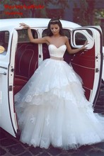 Cheap Ball Gown Wedding Dresses 2017 Simple Sash Bow Lace Appliques Tulle Wedding Bridal Gowns Custom made Robe de Mariage