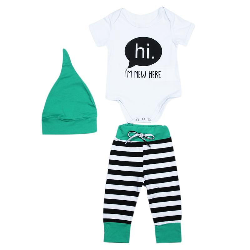 3pcs Unisex Christmas Clothing Set Baby Boys Girls Cotton Short Sleeve Bodysuit + Striped Pants + Hat Outfits Kids Clothes